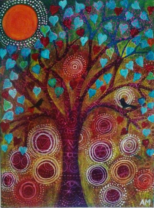 birds in a heart tree