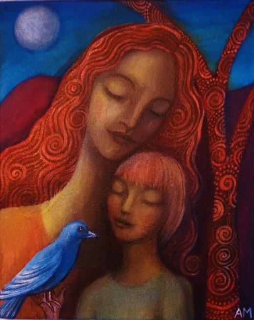 Mother, Boy and Blue Bird