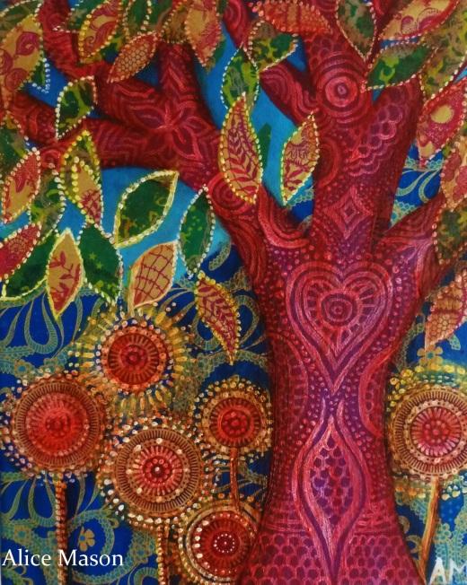 Red Tree and Sunburst Flowers