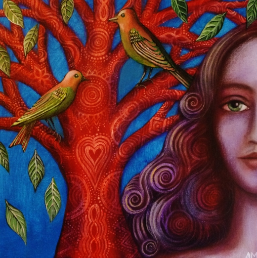 Green Birds and Red Tree