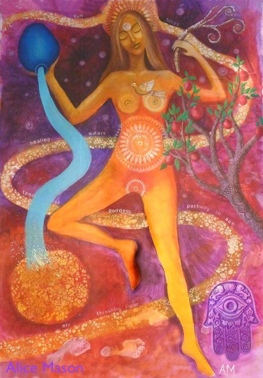 Tanit Goddess with Hamsa