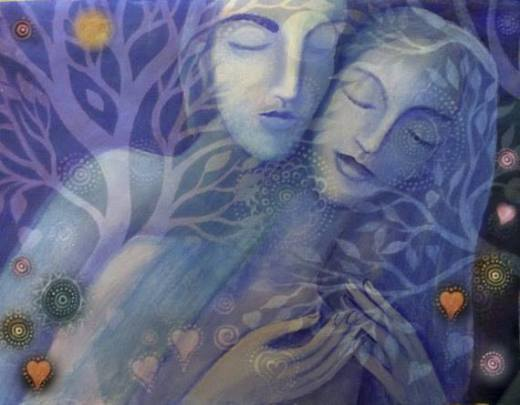 Embrace with trees Stars and planets